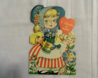Vintage 40s Valentine for Aunt Pretty Little Girl with Watering Can
