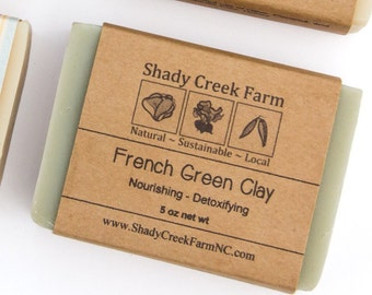 French Green Soap Clay Soap Unscented Soap All Natural Soap Handcrafted Soap Handmade Soap Detox Soap Artisanal Soap Vegan Soap Gift for Him