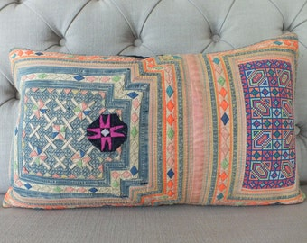 Vintage Hmong Hemp cushion cover, Handwoven Hemp Fabric,Scatter cushions