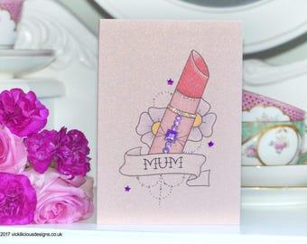 Lipstick and Blossom tattoo handmade alternative Mother's Day card