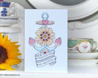 Anchor and Sunflower Tattoo alternative handmade Mother's Day card