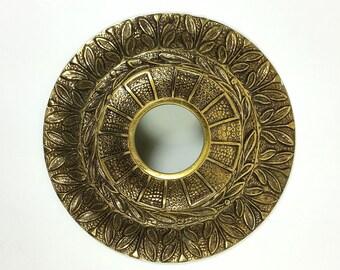 "Vintage BRASS Ceiling Light Medallion Base Chandelier Base Ornate Cast Brass 5"""