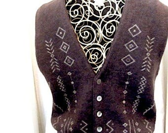 Vintage wool vest, Mens wool vest, 70s wool vest, Nieman Marcus vest, hipster wool vest, retro wool vest, vintage mens vest,merino wool vest