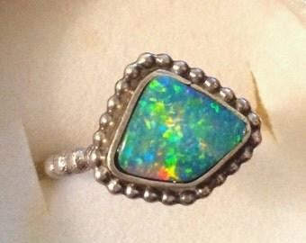 HOLIDAY SALE Fiery opal sterling silver ring ooak