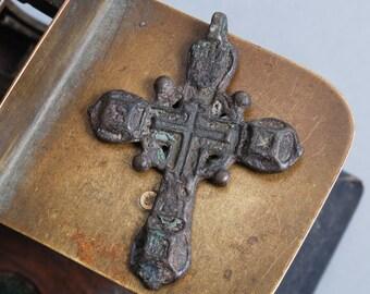 Antique Old large cross Christian Cross pendant. Orthodox church