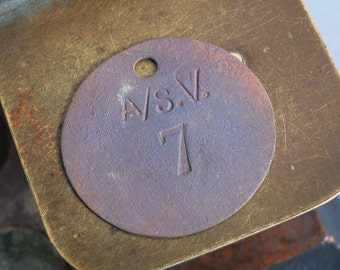 Antique brass tag plate, number 7, connector, label, pendant, charm, primitive finding