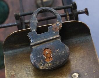 Antique miniature brass padlock, original dark patina.