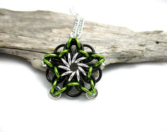 Chainmail Star - Star Chainmaille Pendant - Celtic Star Pendant Necklace - Lime Green & Black Star Pendant
