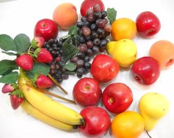Over 4 lbs of Vintage Faux Fruit Display Fruit Fake Fruit Plastic Fruit