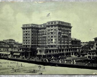 Atlantic City NJ Chalfonte Hotel, Victorian Boardwalk Scene, Antique Black & White New Jersey Ephemera c1908, FREE SHIPPING