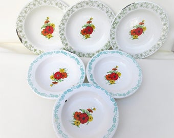 Vintage Enamelware Bowls | Mexican Dishes | Enamel Dishes | Lot of 6