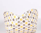 Cat Canoe Modern Cat Bed in Yellow and Grey Sunshine Ikat Polka Dots - kitty furniture made in USA