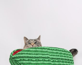 The Watermelon Cat Canoe - a Modern Kitty Bed for Cool Cats - Pet bed made in USA