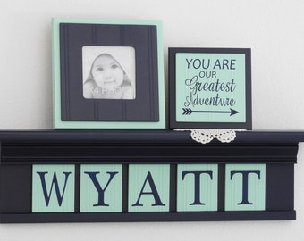 Mint and Navy Nursery Wall Decor / Room Decor - Personalized for Baby Navy Shelf with Mint Name Wall Letters