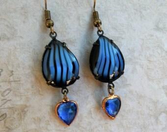 Sapphire Blue Earrings, Sapphire Jewel Earrings, Blue Black Stripe, Sapphire Blue Heart Earrings, Vintage Earrings