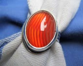 Translucent Red Banded Sardonyx in Argentium Sterling Ring Size 8