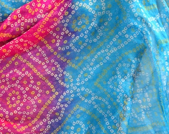 Vintage pink and blue Indian silk shawl, tribal pattern silk scarf with gold beading trim