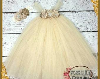 Champagne tutu dress, elegant flower beige girl dress, vintage wedding flower girl dress, flower girl champagne tutu dress