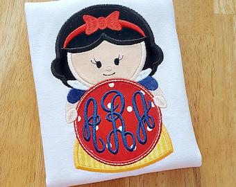 Princess Monogram Applique Shirt for Girls - Personalized Princess Shirt - Ruffle Shirt with Monogram