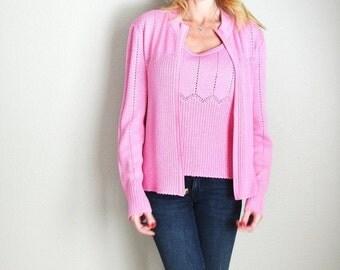 Pre-Christmas SALE - Vintage 90s St. John Sport Marie Gray Pink Knit Tank and Sweater Set // womens medium