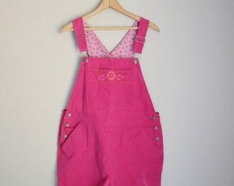 vintage distressed hot pink shortalls -- womens medium
