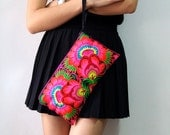 Hmong Vintage Style. Ethnic Embroidered Thai Boho Small Clutch Purse Bag