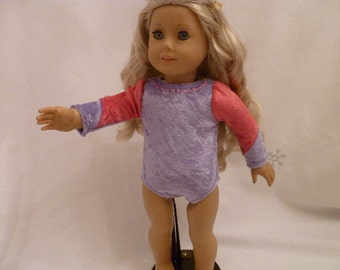 18 Inch Doll Soft Lavender Purple and Rose Pink Gymnastics Leotard with Pink Hearts for American Girl Dolls