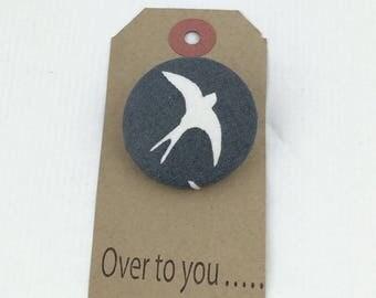 Swallow brooch,Bird brooch,fabric brooch,gifts for her,Textile brooch
