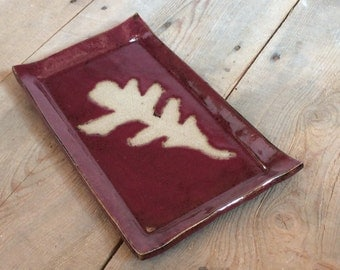 Serving Platter - Red - Oak Leaf