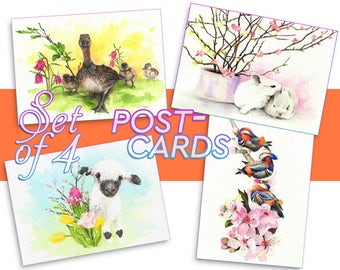 Watercolor POSTCARDS SET, 4 Spring Easter watercolors, Handmade Watercolour prints, Customized original A6 postcard