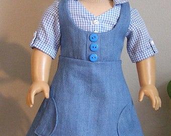 Blue Gingham Blouse with Denim Jumper for 18 Inch Dorothy or AG Doll