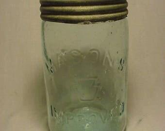 c1880s Mason's Keystone Improved Mason Fruit Jar Co. Philadelphia , Pint Size Canning Fruit Jar , Country Primitive Jar Scarce