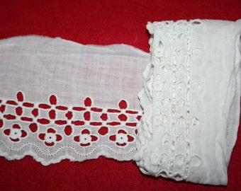 Vintage Embroidered Batiste Edging- over 1 yard