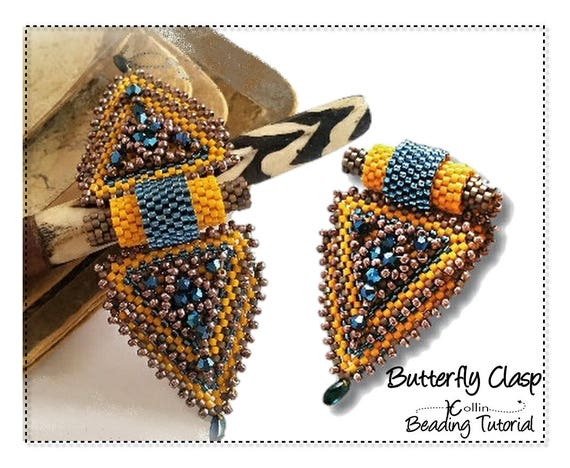 Beading Pattern Peyote stitch, Double Closure Triangle Snap on Clasp Beading Instructions, DIY Beaded Jewelry Tutorial,   BUTTERFLY CLASP