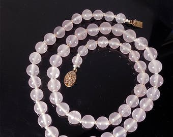 Vintage Chinese Export Pink Rose Quartz Bead Necklace with Silver Filigree Clasp (No. 1402)