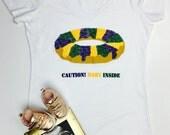 Caution Baby Inside Mardi Gras Maternity Shirt