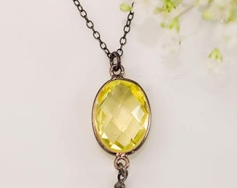 40 OFF - Lemon Citrine Necklace - Lemon Quartz - Black Oxidized Silver - Gunmetal