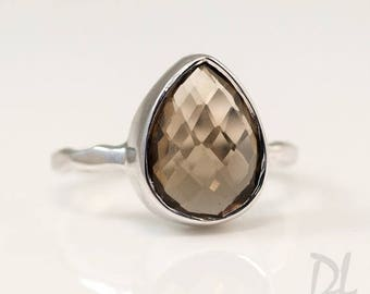 40 OFF - Smokey Quartz Ring Silver - Tear Drop Ring - Brown Stone Ring - Solitaire Ring - Stacking Ring - Silver Ring - Square Gem Ring - St