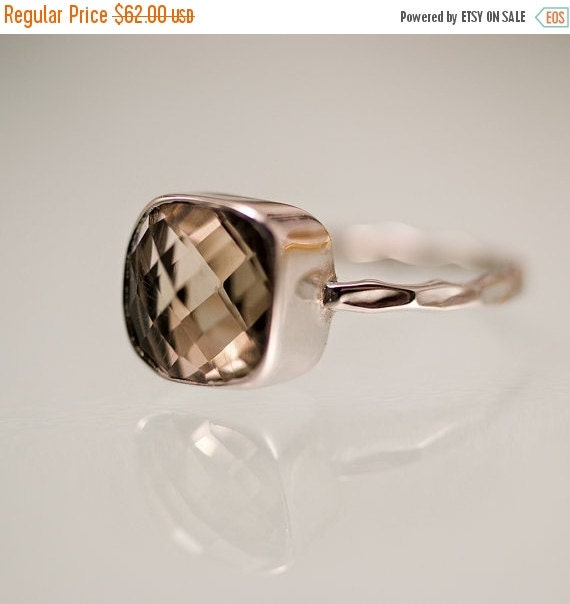 HOLIDAY SALE - Smokey Quartz Ring - Gemstone Ring - Stacking Ring - Sterling Silver Ring - Cushion Cut Ring - Square Stack ring