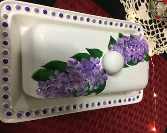 Lilac butter dish