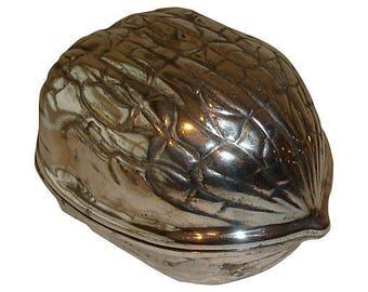 Large Walnut Trinket Box doubles as Silverplate Snack Bowls
