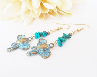 Turquoise Elephant Dangle Earrings, Bronze Earrings, Elephant Earrings, Bohemian Ganesha Ethnic African Buddhist Earrings, Mom Gift Mom
