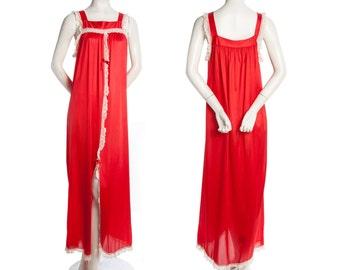 Vintage 60s 70s floor length nightgown -- retro floor length maxi nightgown -- size small / medium