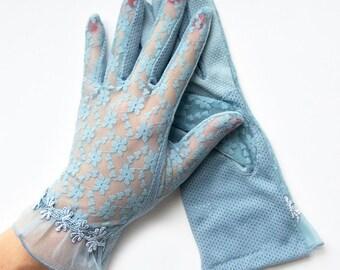 Daisy Mae Blue Sheer Summer Gloves