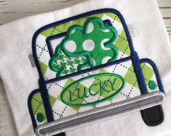 Vintage Truck Clovers Shamrocks St. Patrick's Day Lucky Applique Embroidery Design 5x7 6x10