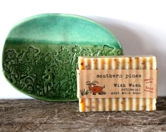 "Soap AND Soap Dish Gift Set, 5 1/2"" Soap Dish, Handmade Goat Milk Soap, Ceramic, Handmade Pottery, by RiverStone Pottery"