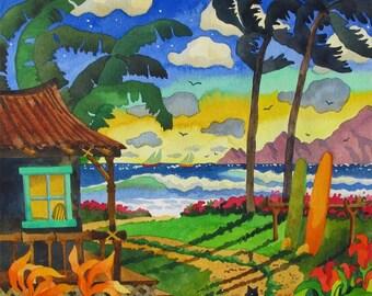 Hawaiian Islands, Palm Trees, Surfboards,Tropical Hut, Black Cat, Tropical Flowers