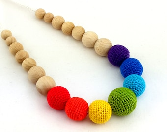 Rainbow nursing necklace, crochet wooden teething necklace