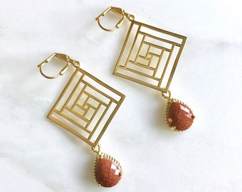 Goldstone Geometric Chandelier Earrings.  Dangle Earrings.  Statement Earrings. Jewelry Gift. Fashion Drop Earrings. Chandelier Earrings.