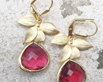 Ruby Red Teardrop Drop Earrings with Gold Orchid. Dangle Earrings. Bridesmaids Earrings. Jewelry Gift.  Drop Earrings. Christmas Gift.